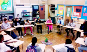 A restorative justice circle at Edna Brewer Middle School in Oakland, Calif